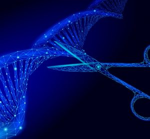 Futuristic image - DNA stand with scissors about to cut it - idea of CRISPR gene editing