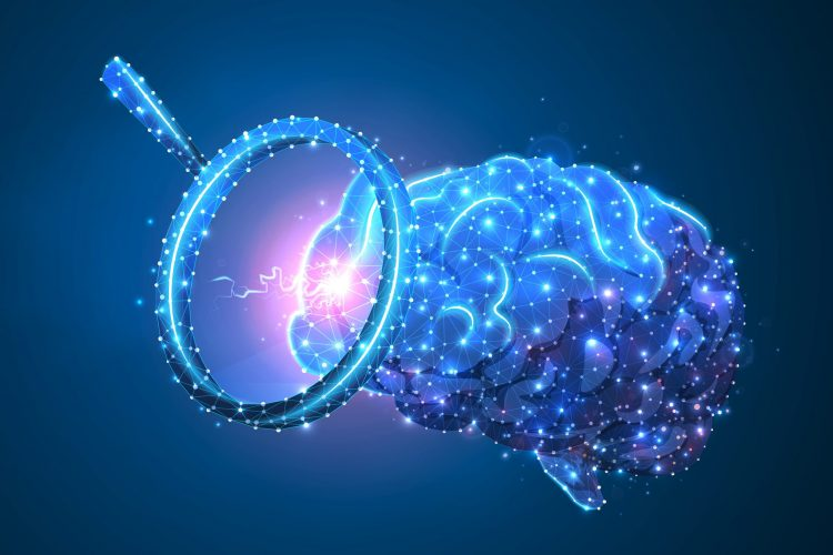 magnifying glass aimed at a human brain, both outlined and glowing in light blue, on a darker blue background