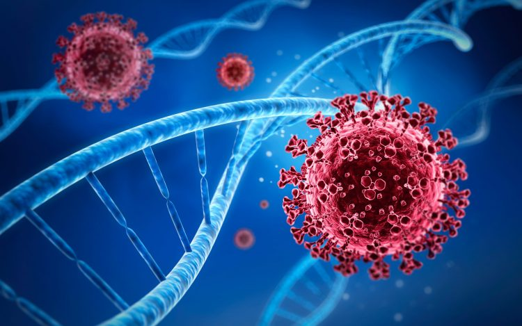 red coronavirus particles next to blue DNA strands