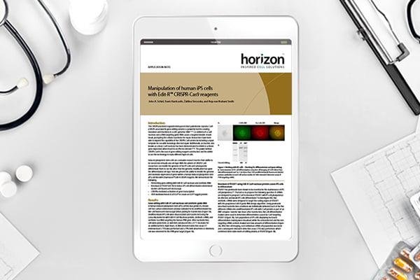 Human iPS cells modified with Edit-R™ CRISPR-Cas9 reagents