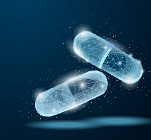 Two drug capsules outlined in glowing light blue on a dark blue background - idea of technology for drug development