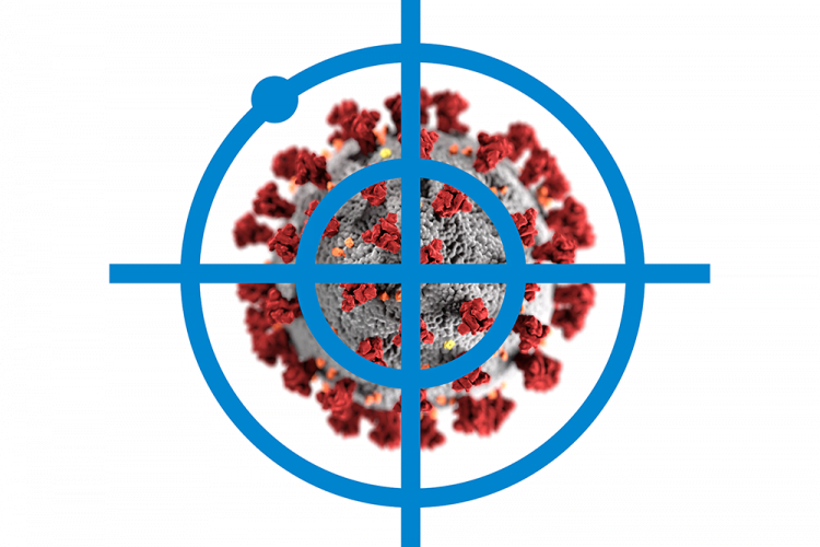 coronavirus particle on grey with red spike proteins under blue crosshares