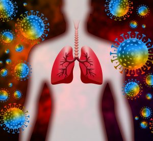 colourful SARS-CoV-2 particles surrounding a body shape with the lungs drawn in red
