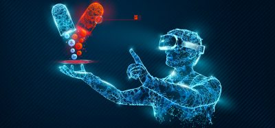 Graphic of a person wearing Virtual Reality goggles pointing at two different medication pills