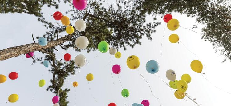 Balloons marking rare disease sufferers
