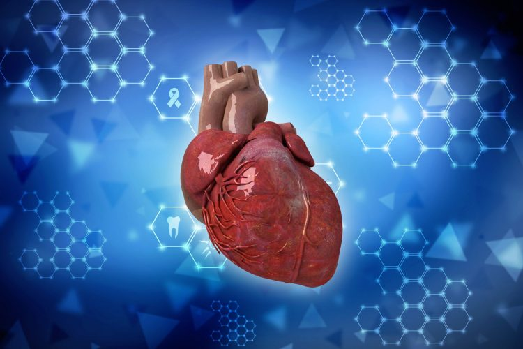 heart on an abstract blue scientific background