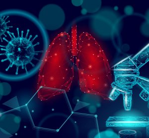 lungs, microscope and viral particle