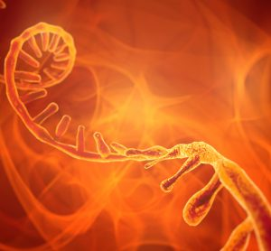 RNA strand on an abstract orange swirling background