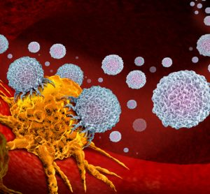 Immunotherapy - white blobs attacking a yellow cancer cell