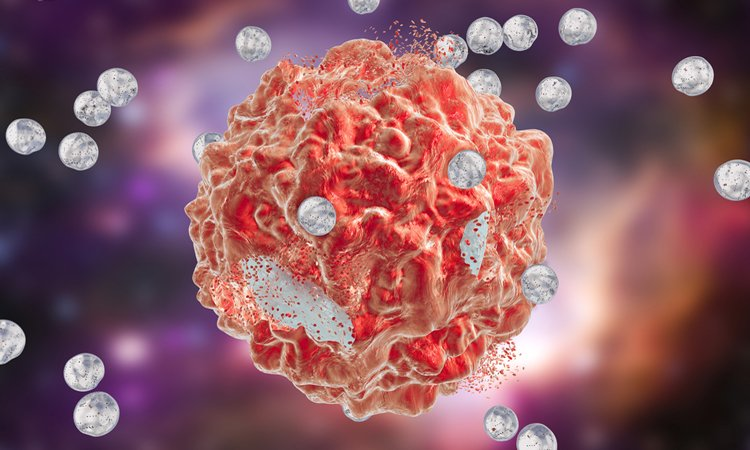 Nanoparticles attacking a cancer cell