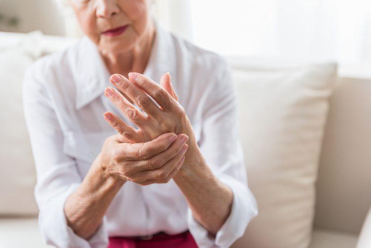 Elderly lady with arthritis